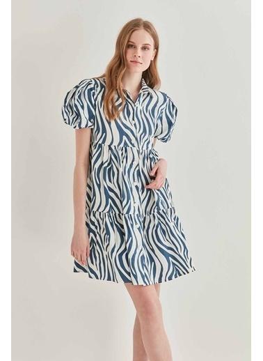 Vitrin VİTRİN Zebra Desen Önden Düğmeli Geniş Kesim Elbise Lacivert